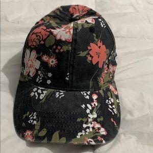 Floral adjustable strap cap